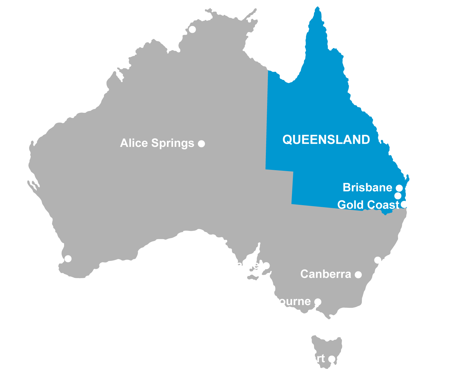Map with Queensland highlighted in blue