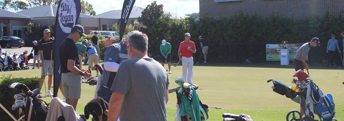 Golfers practicing at PGA Trainee Championship at Windaroo 2019