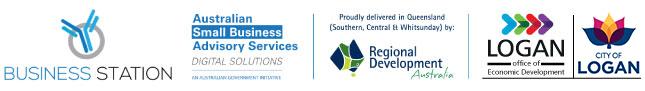 Business station, Australian Small Business Advisory Services, Regional Development Australia, LOED and Logan Council logos