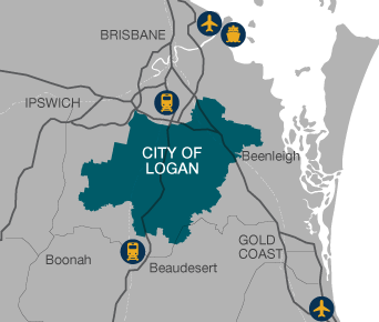 Vector style map of Brisbane with City of Logan highlighted