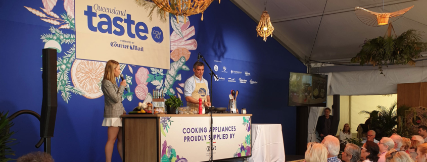 Chef Bruno Loubet cooking in front of crowd at Regional Flavours