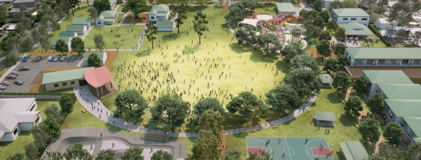 Artist illustration of future Logan Village Green