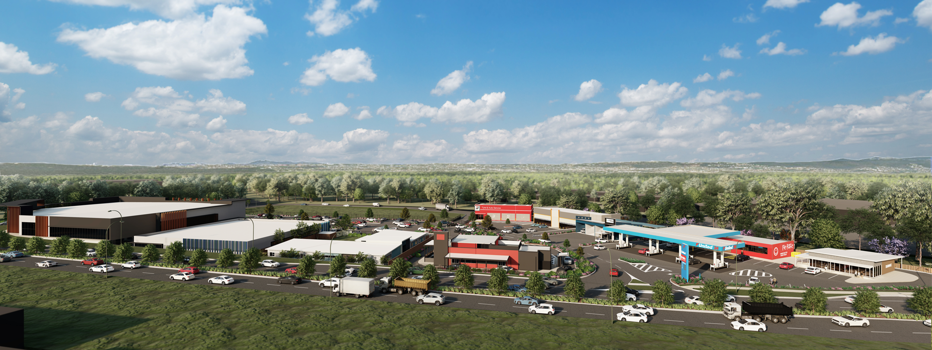 Artist's impression of Berrinba Central showing a complex of warehouses, shops and a service station with car parking, set against a main road and bushland