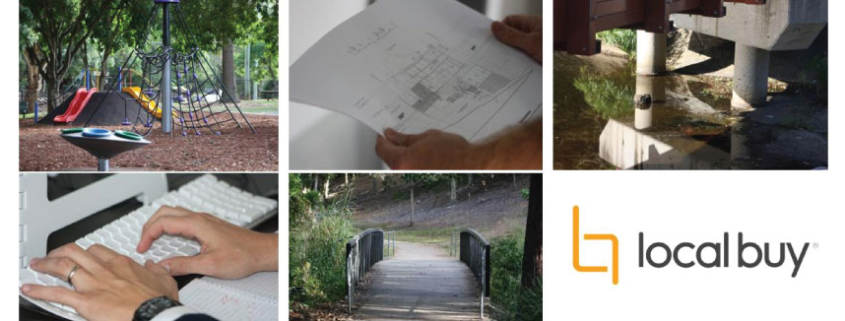 Suite of images of playground equipment, planning documents, road infrastructure, computer keyboard and a bridge