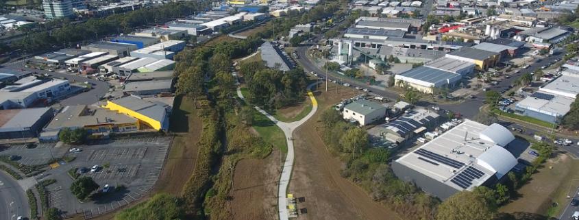Aerial view of Slacks Creek Green Link