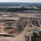 Aerial photo of land cleared at Crestmead for future industrial estate