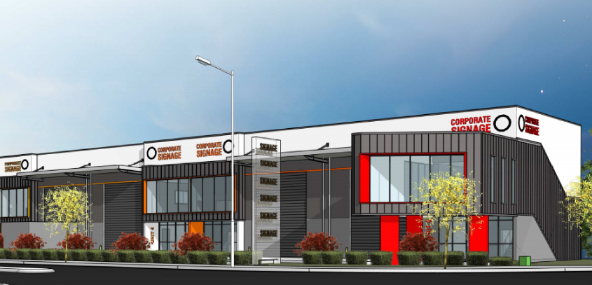 Artists impression of buildings at Berrinba Mixed Business and Industry Development