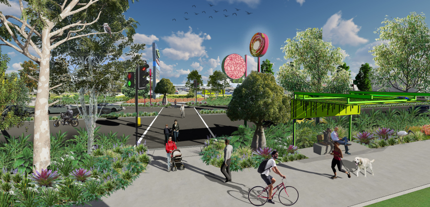 Artists impression of Loganlea Road with trees and artwork.