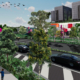 Artists impression of Loganlea Road with trees, artwork and upgraded hospital in the background