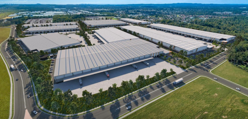 Artist impression of Mapletree Logistics Park with Crestmead in background