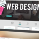 laptop with web design tools on the screen