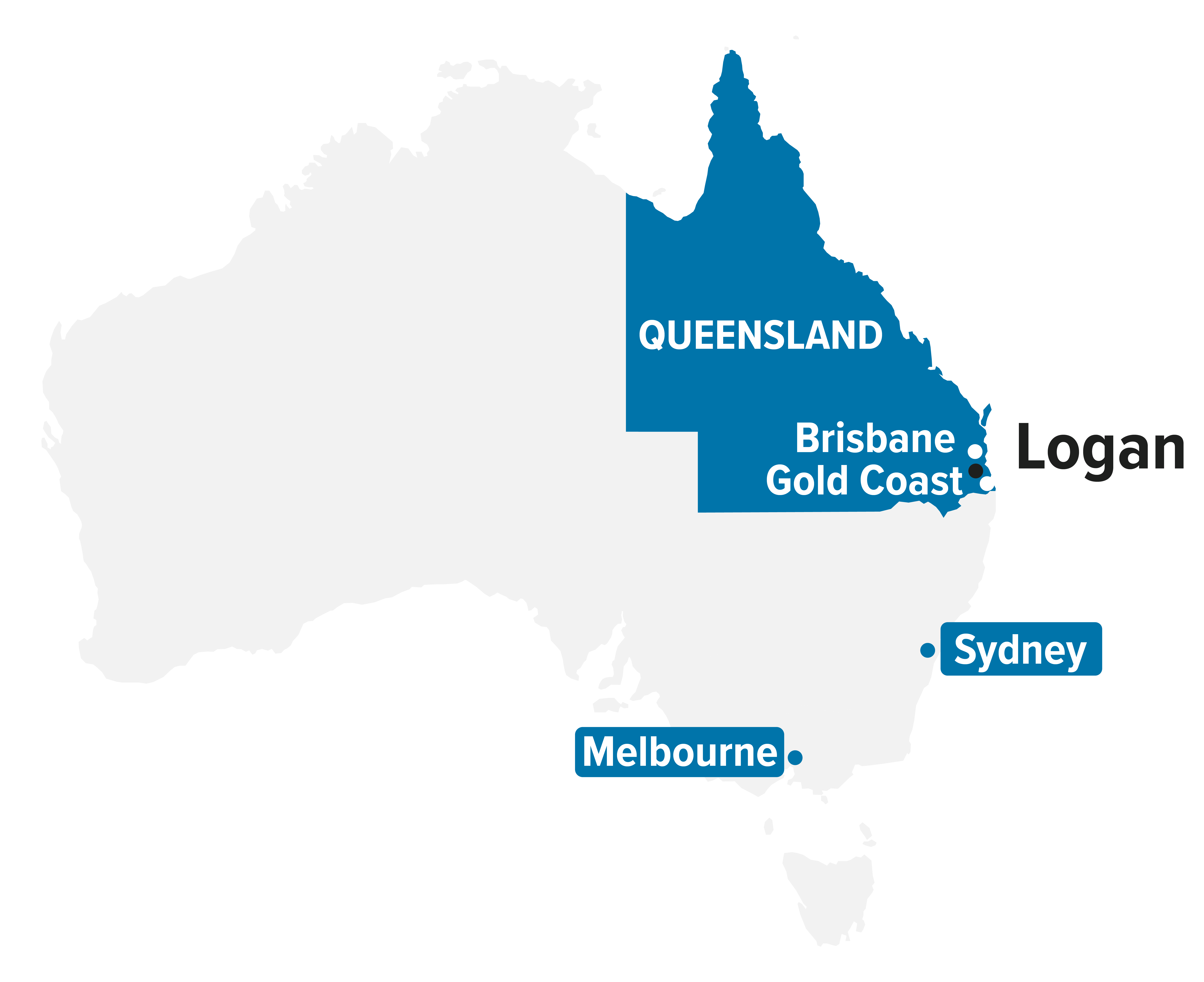 Map of Australia highlighting Queensland and position of Logan in South East corner