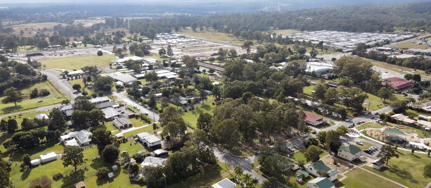 Aerial view of Logan Village