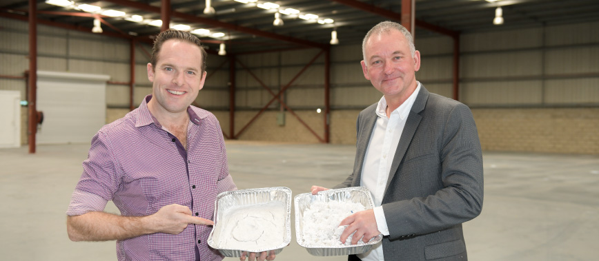 Deputy Mayor Jon Raven with BlockTexx co-founder Graham Ross and samples of recycled fabric