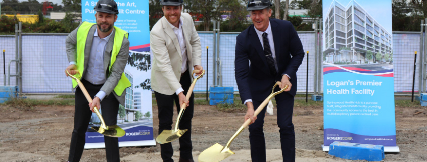 Niclin Group's Managing Director Nick Cave, Rogerscorp Director Simon Rogers, and Mayor Darren Power turn the sod at Springwood Health Hub